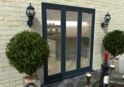 1800mm Grey Aluminium Bifold Doors - CLIMADOOR: 70mm Thermally Broken, Double Glazed Door Set Image