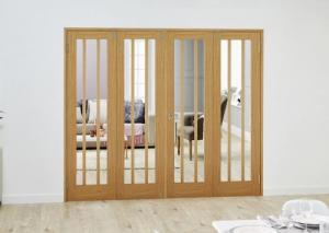 Lincoln Oak Folding Room Divider ( 4 x 610mm Doors): French Doors with folding sidelights Image