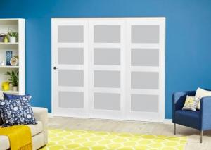 White 4L Frosted Roomfold Deluxe ( 3 x 686mm doors ): Interior Folding Door with Low Level Guide Rail Image