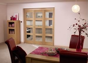 Oak Pre finished 4 Light Bifold door ( 3 x 1