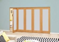 3000mm Prefinished Frosted P10 Oak Roomfold Deluxe: Interior Folding Door with Low Level Guide Rail Image