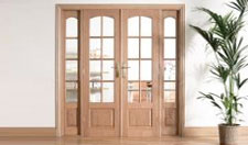 W6 OAK Interior French Doors with sidelights: Internal Room Divider with sidelight options Image