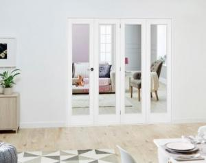 Slimline White P10 Roomfold Deluxe ( 4 x 381mm doors ): Interior Folding Door with Low Level Guide Rail Image