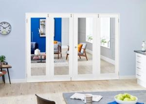 White P10 Folding Room Divider ( 4 x 610mm Doors): French Doors with folding sidelights Image