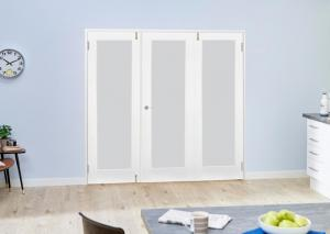 White P10 French Folding Room Divider - Frosted, Interior Bifold Doors Image