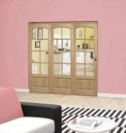 Worthing Oak Roomfold Deluxe ( 3 x 610mm doors ): Interior Folding Door with Low Level Guide Rail Image