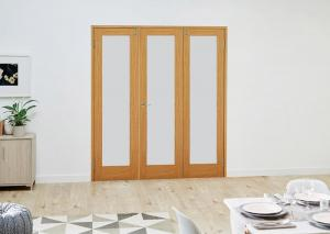 PREFINISHED Oak French Folding Room Divider - Frosted, Interior Bifold Doors Image