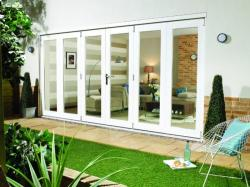 NUVU 4200mm (14ft) WHITE Folding Patio Door: 44mm Fully Finished Doorset Image