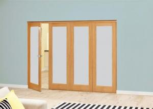 Frosted P10 Oak Roomfold Deluxe (4 x 610mm doors): Interior Folding Door with Low Level Guide Rail Image