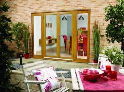 NUVU OAK 2400mm (8ft) French Doors with sidelights: 44mm Fully Finished Doorsets Image