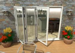 2700mm White Aluminium Bifold Doors - CLIMADOOR: 70mm Thermally Broken, Double Glazed Door Set Image
