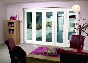 White Pattern 10 Roomfold - Clear glass, Interior Bifold Doors Image