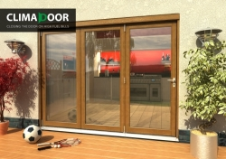 Climadoor Elite Oak Bi fold door 2700mm: 54mm fully finished Folding doorset Image