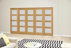 Oak 4L Frosted Roomfold Deluxe (5 x 686mm doors),  Image