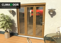 Climadoor Elite Oak Bi fold door 1800mm: 54mm fully finished Folding doorset Image