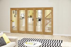 Worcester Oak Prefinished Roomfold Deluxe (5 x 610mm doors): Interior Folding Door with Low Level Guide Rail Image