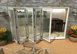 3600mm White Aluminium Bifold Doors - CLIMADOOR: 70mm Thermally Broken, Double Glazed Door Set Image