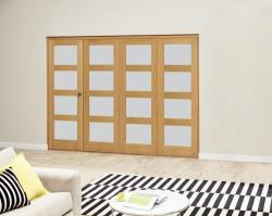 Oak 4L Frosted Roomfold Deluxe (4 x 610mm doors): Interior Folding Door with Low Level Guide Rail Image