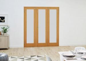 PREFINISHED Oak Frosted Folding Room Divider 7ft (2142mm) set: French Doors with folding sidelights Image