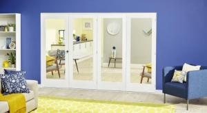 2400mm (8ft) White P10 Roomfold Deluxe: Interior Folding Door with Low Level Guide Rail Image