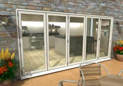 4800mm White Aluminium Bifold Doors - CLIMADOOR: 70mm Thermally Broken, Double Glazed Door Set Image