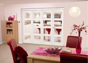 White 4L Shaker Room fold - Clear, Interior Bifold Doors Image