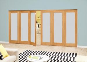 Frosted P10 Oak Roomfold Deluxe (3 + 3 x 610mm doors),  Image