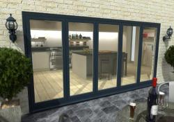 4200mm Grey Aluminium Bifold Doors - CLIMADOOR: 70mm Thermally Broken, Double Glazed Door Set Image