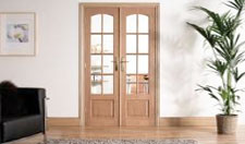 W4 OAK Interior French Doors: Internal Room Divider with sidelight options Image