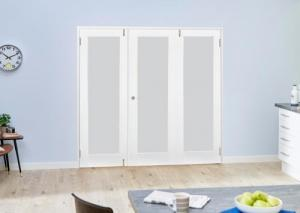 White P10 Frosted Folding Room Divider ( 3 x 610mm Doors): French Doors with folding sidelights Image