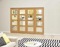 Oak 4L Clear Roomfold Deluxe (4 x 686mm doors): Interior Folding Door with Low Level Guide Rail Image