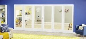 White P10 Roomfold Deluxe ( 3 + 3 x 610mm doors ): Interior Folding Door with Low Level Guide Rail Image