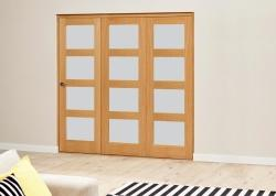 PREFINISHED Oak 4L Roomfold Deluxe - Frosted Glass, Interior Bifold Doors Image