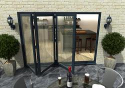 3000mm Grey Aluminium Bifold Doors - CLIMADOOR: 70mm Thermally Broken, Double Glazed Door Set Image