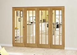 Lincoln Oak Roomfold Deluxe ( 4 x 533mm doors): Interior Folding Door with Low Level Guide Rail Image