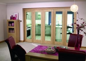 "Glazed OAK - 5 door roomfold (5 x 27"" doors): Internal Roomfold System Image"
