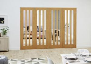 Aston Oak Folding Room Divider ( 4 x 686mm doors): French Doors with folding sidelights Image