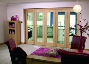 "Glazed OAK - 5 door roomfold (5 x 24"" doors): Internal Roomfold System Image"