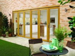 NUVU OAK Bifold Patio Doors Prefinished, Exterior Bifold Patio Doors Image