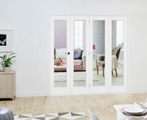Slimline White P10 Roomfold Deluxe ( 4 x 419mm doors ): Interior Folding Door with Low Level Guide Rail Image