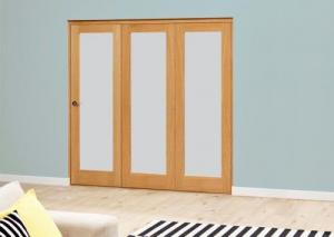 Frosted P10 Oak Roomfold Deluxe (3 x 686mm doors): Interior Folding Door with Low Level Guide Rail Image