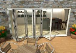 4200mm White Aluminium Bifold Doors - CLIMADOOR: 70mm Thermally Broken, Double Glazed Door Set Image