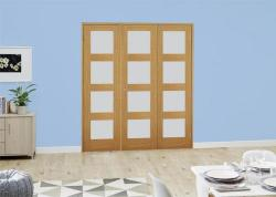 Oak 4L Frosted Folding Room Divider ( 3 x 610mm doors): French Doors with folding sidelights Image