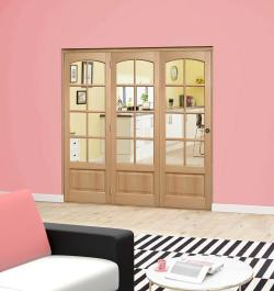 Worthing Oak Roomfold Deluxe (3 x 762mm doors): Interior Folding Door with Low Level Guide Rail Image
