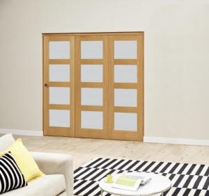 Oak 4L Frosted Roomfold Deluxe (3 x 610mm doors),  Image