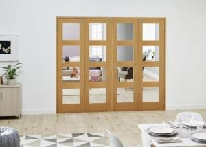 PREFINISHED Oak 4L Folding Room Divider ( 4 x 610mm Doors): French Doors with folding sidelights Image