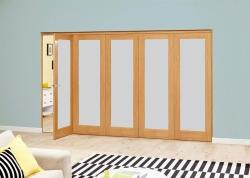 PREFINISHED Oak Roomfold Deluxe - Frosted Glass, Interior Bifold Doors Image