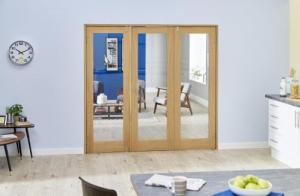 Glazed Oak P10 Folding Room Divider ( 3 x 533mm Doors): French Doors with folding sidelights Image