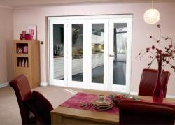 White Bifold 4 door system 2400mm Set,  Image