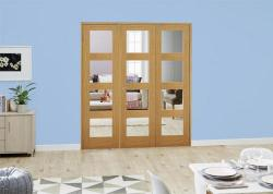 Oak 4L Folding Room Divider ( 3 x 610mm doors ): French Doors with folding sidelights Image